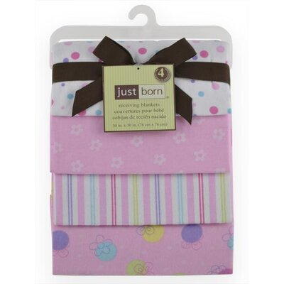 Just Born Flannel Receiving Blankets with Girl Dots, Stripe, Pink