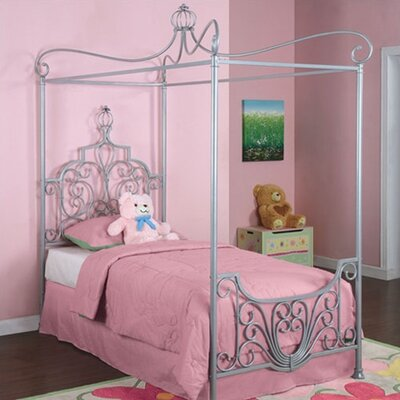 Powell Furniture Princess Rebecca Twin Size Canopy Bed in Sparkle Silver