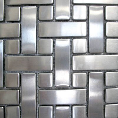"Diamond Tech Tiles Metal 10.25"" x 10.25"" Mosaic in Basket Weave"