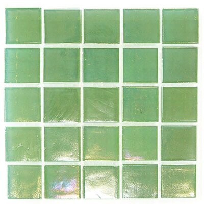 "Diamond Tech Tiles Platinum 9/16"" x 9/16"" Glass Mosaic in Pastel Green Mist"