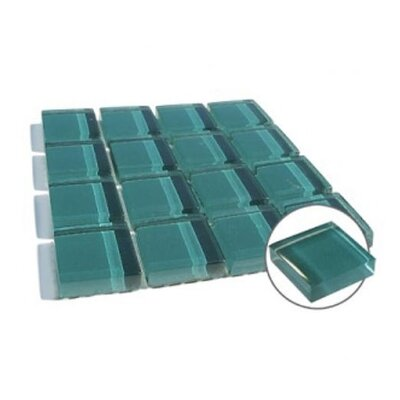 "Diamond Tech Tiles Dimensions Solid 12.2"" x 12.2"" Glass Mosaic in Teal"