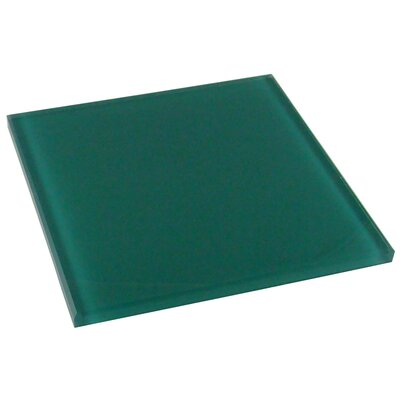 "Diamond Tech Tiles Dimensions Solid 6"" x 6"" Glass Tile in Teal"