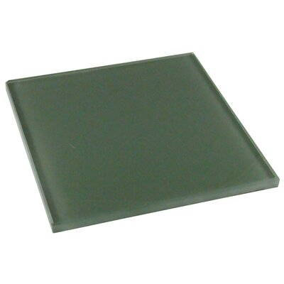 "Diamond Tech Tiles Dimensions Solid 6"" x 6"" Glass Tile in Gray"
