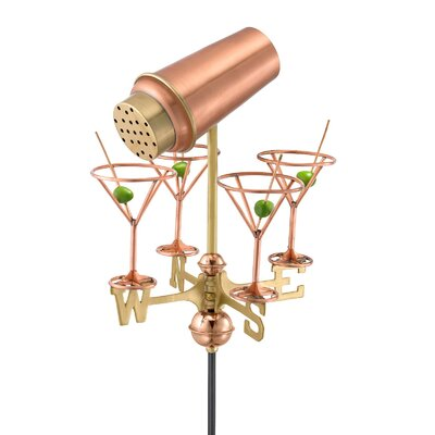 Good Directions Martini Shaker and Glasses Weathervane with Garden Pole