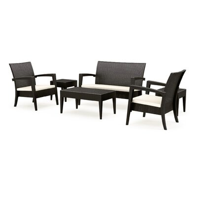 Compamia Miami Resin Wickerlook 6 Piece Lounge Seating Group with Cushions