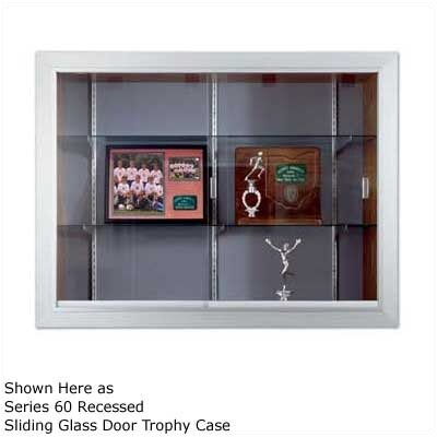 Marsh Series 70 Recessed Hinged Glass Door Trophy Cases - Natural Cork / Wood Veneer (Without Lighting)