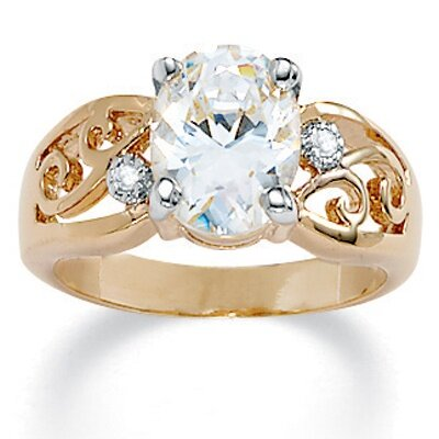 Palm Beach Jewelry Gold Plated Oval-Cut and Round Cubic Zirconia Ring