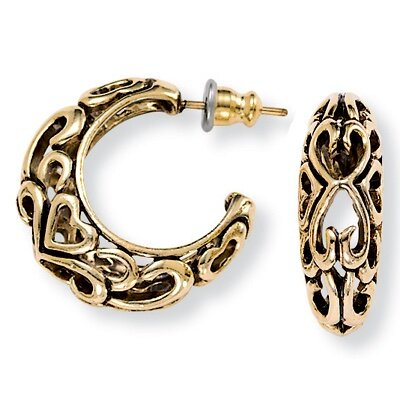 Palm Beach Jewelry Gold Plated Antiqued Hoop Earrings