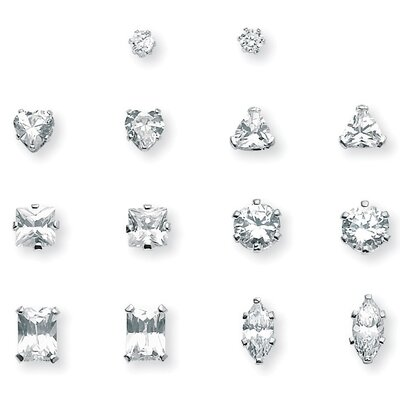 Palm Beach Jewelry Platinum/Silver 7 Pairs of Cubic Zirconia Earring Set