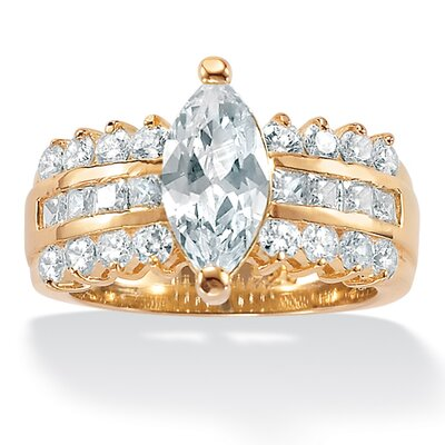 Palm Beach Jewelry Gold Plated Diamond Ultra Cubic Zirconia Ring