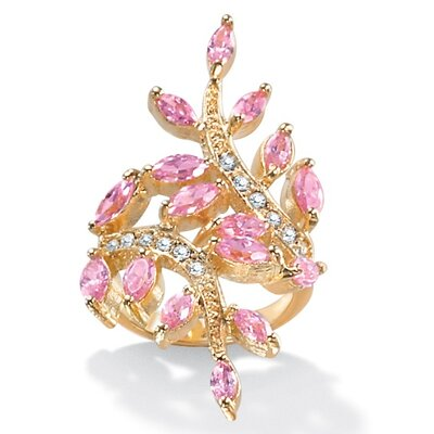 14k Gold Plated Cubic Zirconia Pink Leaf Ring