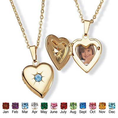 Goldtone Simulated Birthstone Heart Locket