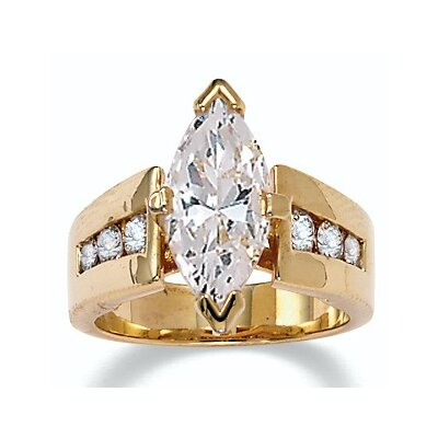 Palm Beach Jewelry 18k Gold/Silver Marquise-Cut and Round Cubic Zirconia Ring