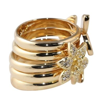Palm Beach Jewelry Gold Plated Stackable Rings (Set of 5)