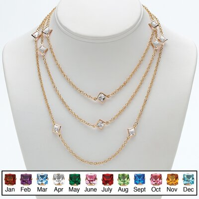 Goldtone Princess Cut Birthstone Necklace