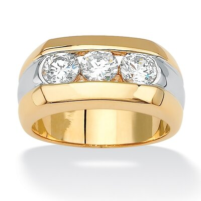 18k Gold/Silver Men's Triple Cubic Zirconia Ring