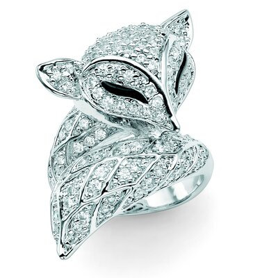 Palm Beach Jewelry Silvertone Diamond Ultra Cubic Zirconia Fox Ring