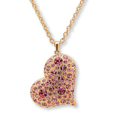 Goldtone Pink Crystal Heart Shaped Pendant