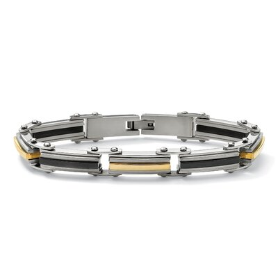 Stainless Steel Men's Elongated-Link Bracelet