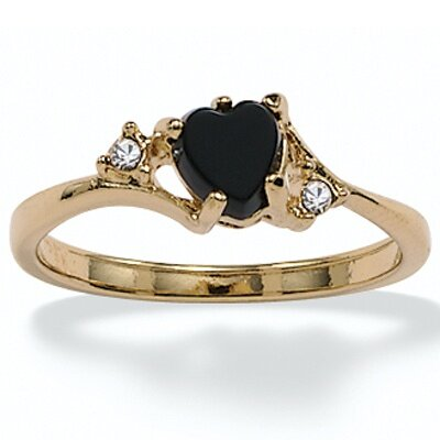 Palm Beach Jewelry Gold Plated Onyx and Crystal Ring