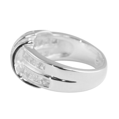 Palm Beach Jewelry Cubic Zirconia Silver Band