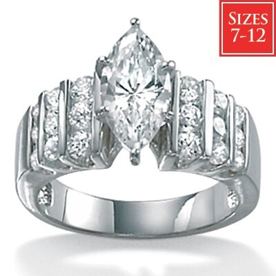 Cubic Zirconia Platinum / Sterling Silver Ring