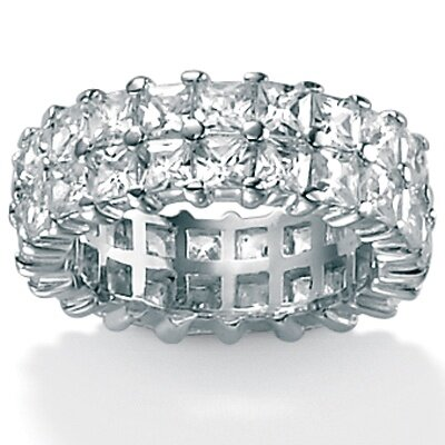 Cubic Zirconia Platinum / Sterling Silver Double Row Ring