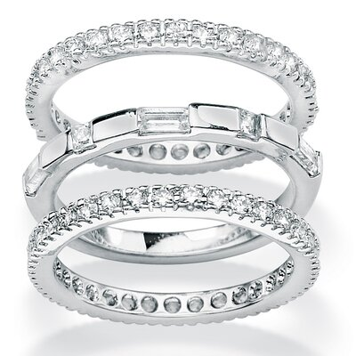 Palm Beach Jewelry Cubic Zirconia Eternity Bands (Set of 3)
