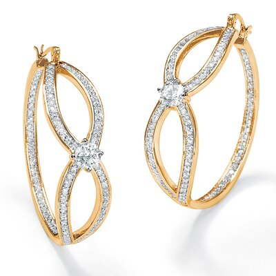 Cubic Zirconia Inside - Out Hoop Pierced Earrings