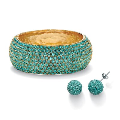 Palm Beach Jewelry Aquamarine-Colored Crystal Set