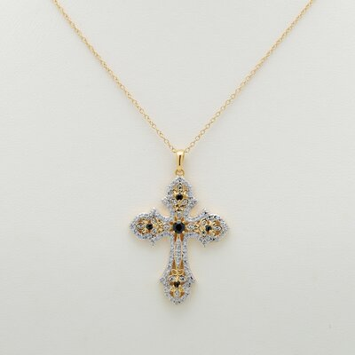 Palm Beach Jewelry Sapphire / Diamond Acc. Cross Pendant