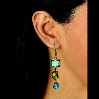 Palm Beach Jewelry Aquamarine Lucite Drop Earrings