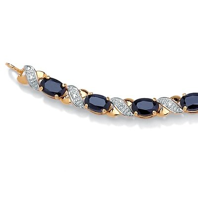 "Palm Beach Jewelry ""X and O"" Sapphire and Diamond Bracelet"
