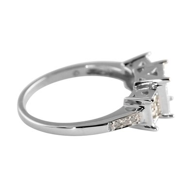 Palm Beach Jewelry 10k White Gold Diamond Square Cluster Ring