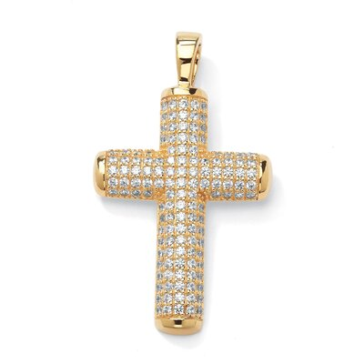 14k Yellow Gold Round Cut Cubic Zirconia Cross Pendant
