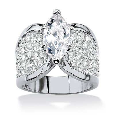 Platinum-Plated Marquise Cut White Cubic Zirconia Ring