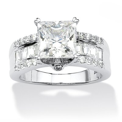 Platinum Over Silver Princess Cut Cubic Zirconia Ring