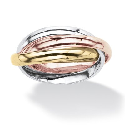 18k Gold-Plated Tri-Tone Interlocking Rings