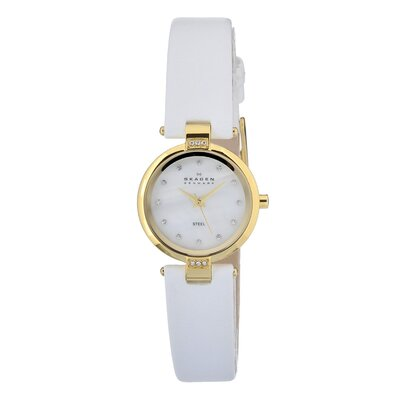 Skagen Leather Swarovski Women's Crystal  Watch