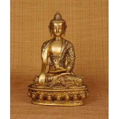 Brass Series Buddha Statue with Medicine Bowl on Lotus