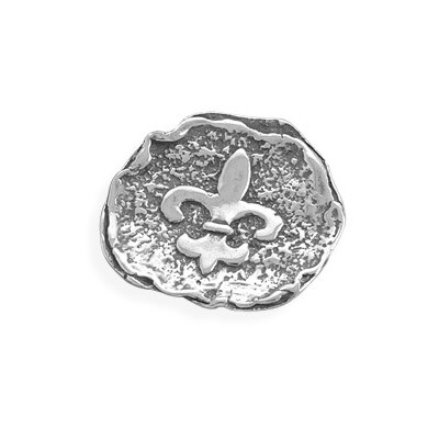 Jewelryweb Textured Oxidized Sterling Silver Slide With Fleur-de-lis Design Slide Is 30mmCharm
