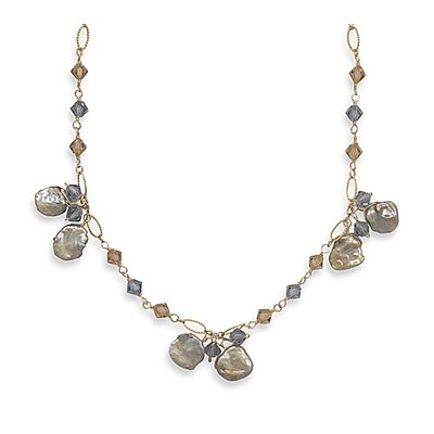 Sterling Silver 16 Inch+2 InchExtention 14/20 Gold Filled Necklace Keshi Pearl swarovski Crystals