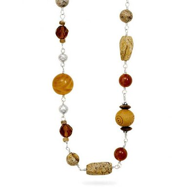 Jewelryweb 34 InchSterling Silver Wood Black Onyx Tigers Eye Carnelian and Glass Multisize Bead Necklace