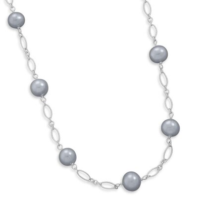 Jewelryweb Sterling Silver 16+1.5 Silver Cultured Freshwater Pearl Necklace