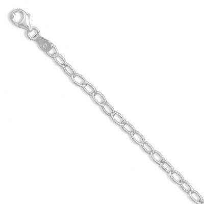 Sterling Silver Oval Diamond-cut Link Necklace Approx With Lobster Clasp