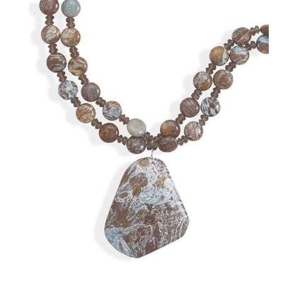 Jewelryweb Sterling Silver 16 Inch+1.5 InchExtention Blue Jasper Necklace - 16 Inch