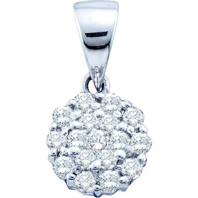 Jewelryweb 14k White Gold 0.25 Dwt Diamond Flower Pendant