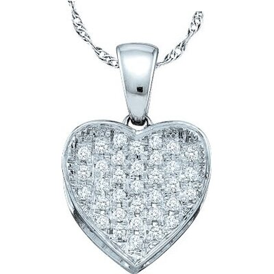 Jewelryweb 10k White Gold 0.10 Dwt Diamond Heart Pendant