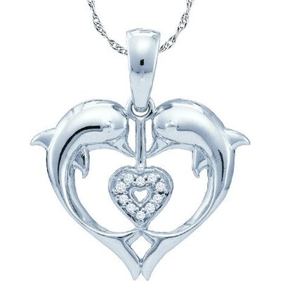 Jewelryweb 10k White Gold 0.03 Dwt Diamond Dolphin Pendant
