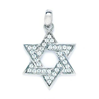 14k Gold CZ Large Star Of David Pendant